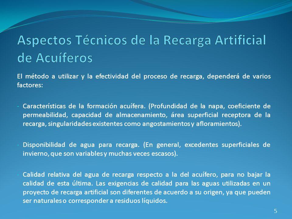 El método a utilizar y la efectividad del proceso de recarga, dependerá de varios factores: - Características de la formación acuífera. (Profundidad d