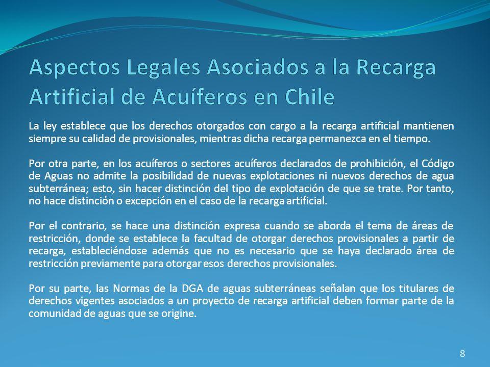 La ley establece que los derechos otorgados con cargo a la recarga artificial mantienen siempre su calidad de provisionales, mientras dicha recarga pe