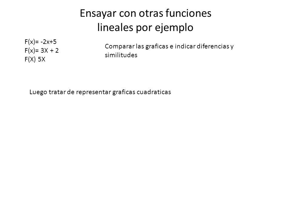 Ensayar con otras funciones lineales por ejemplo F(x)= -2x+5 F(x)= 3X + 2 F(X) 5X Comparar las graficas e indicar diferencias y similitudes Luego trat