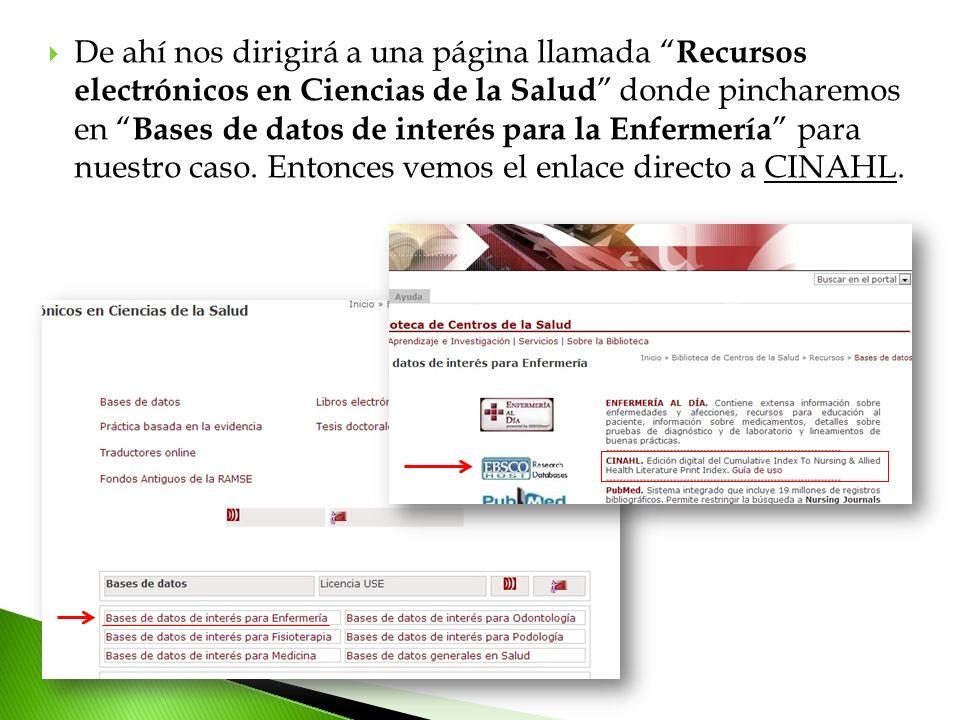 De ahí nos dirigirá a una página llamada Recursos electrónicos en Ciencias de la Salud donde pincharemos en Bases de datos de interés para la Enfermer