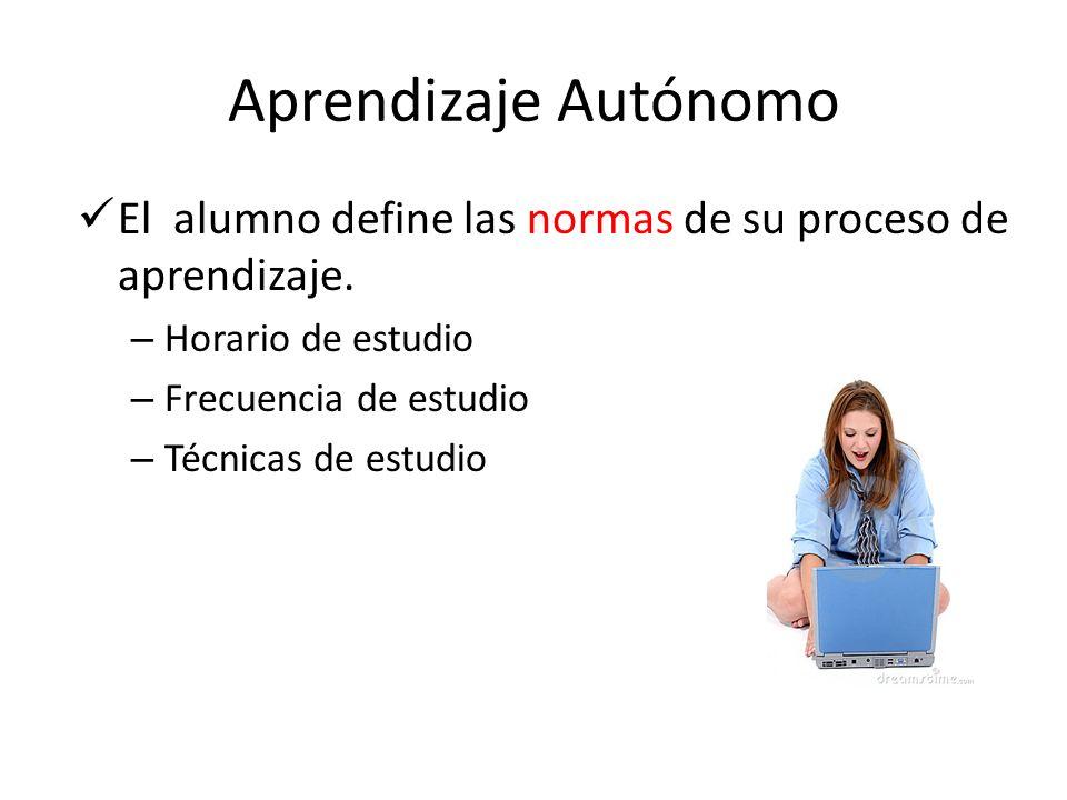 Aprendizaje Autónomo El alumno define las normas de su proceso de aprendizaje. – Horario de estudio – Frecuencia de estudio – Técnicas de estudio