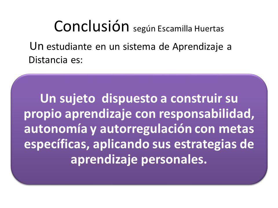 Conclusión según Escamilla Huertas Un sujeto dispuesto a construir su propio aprendizaje con responsabilidad, autonomía y autorregulación con metas es