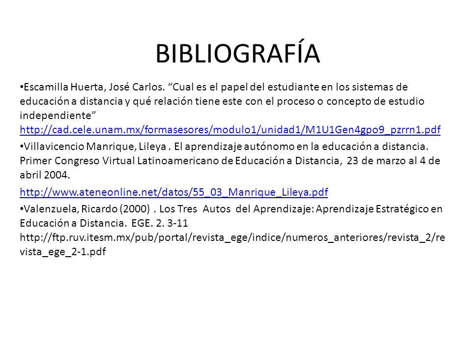 BIBLIOGRAFÍA Escamilla Huerta, José Carlos. Cual es el papel del estudiante en los sistemas de educación a distancia y qué relación tiene este con el
