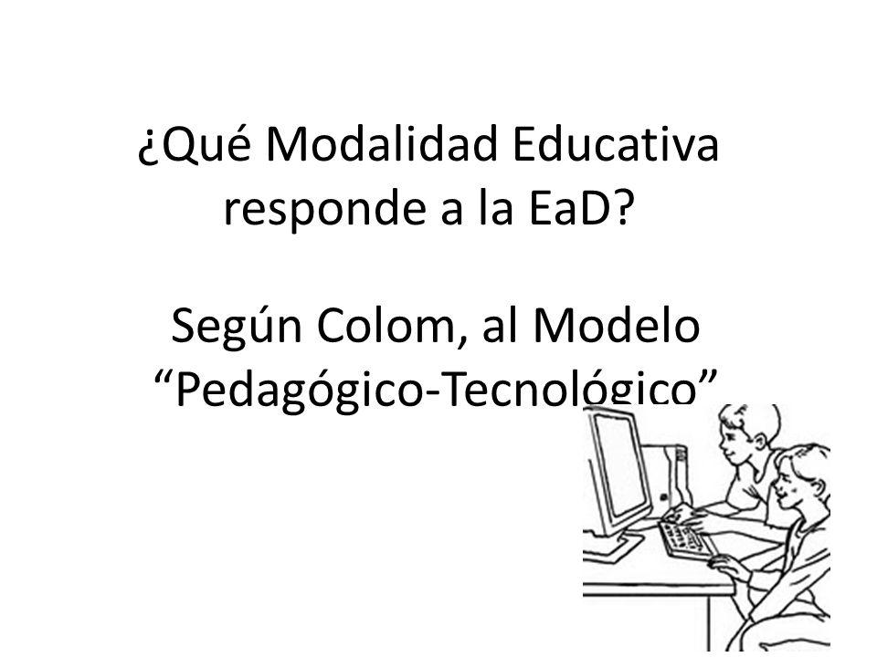 Según Colom, al Modelo Pedagógico-Tecnológico ¿Qué Modalidad Educativa responde a la EaD?