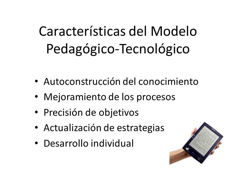 Características del Modelo Pedagógico-Tecnológico Autoconstrucción del conocimiento Mejoramiento de los procesos Precisión de objetivos Actualización