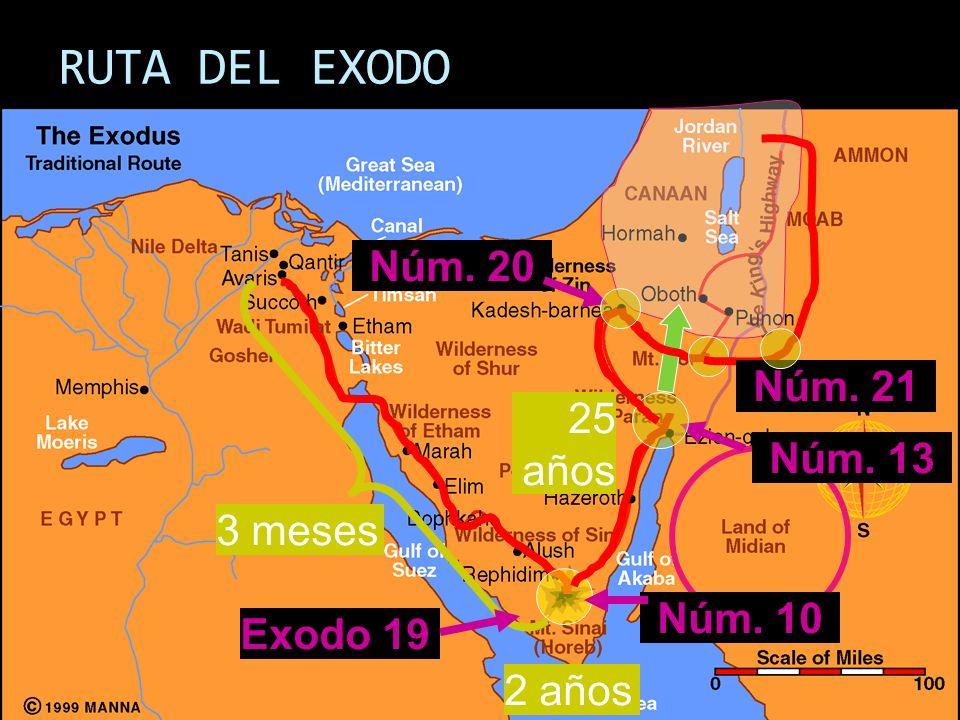 RUTA DEL EXODO 3 meses 2 años Exodo 19 Núm. 10 Núm. 13 25 años Núm. 20 Núm. 21