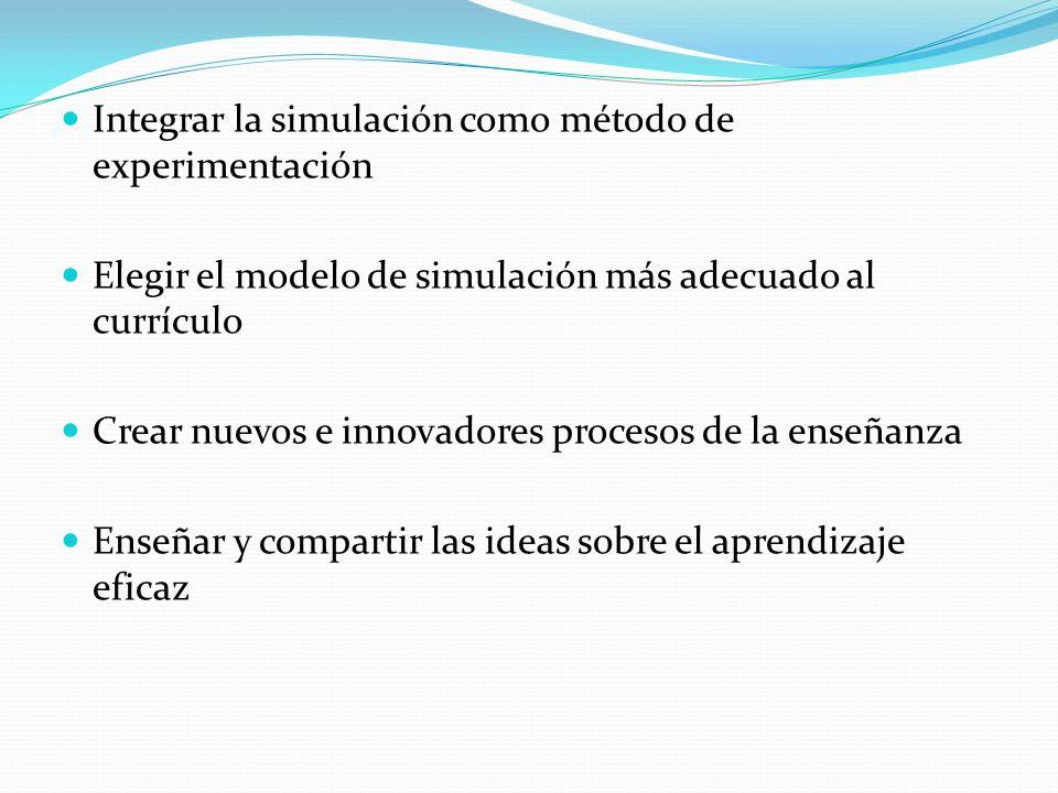 Integrar la simulación como método de experimentación Elegir el modelo de simulación más adecuado al currículo Crear nuevos e innovadores procesos de