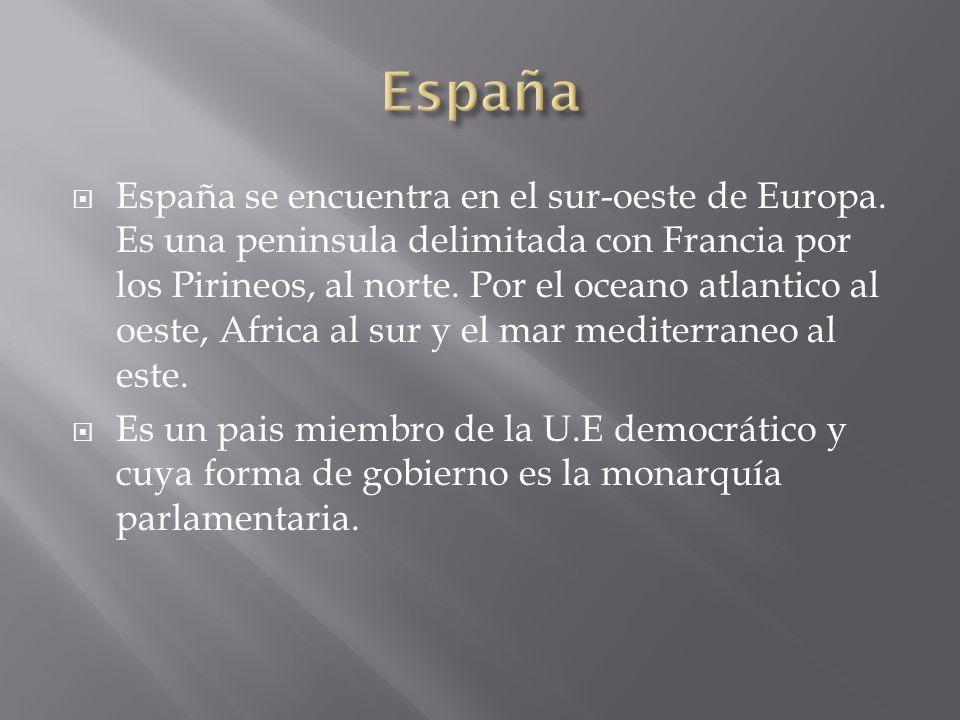 España se encuentra en el sur-oeste de Europa. Es una peninsula delimitada con Francia por los Pirineos, al norte. Por el oceano atlantico al oeste, A