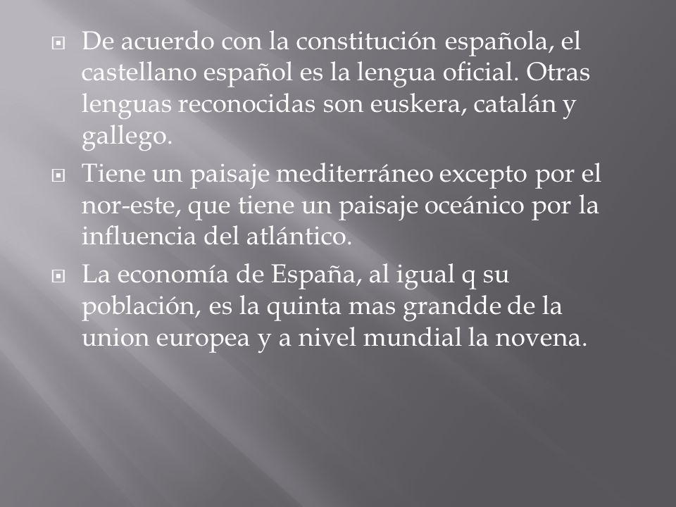 De acuerdo con la constitución española, el castellano español es la lengua oficial. Otras lenguas reconocidas son euskera, catalán y gallego. Tiene u