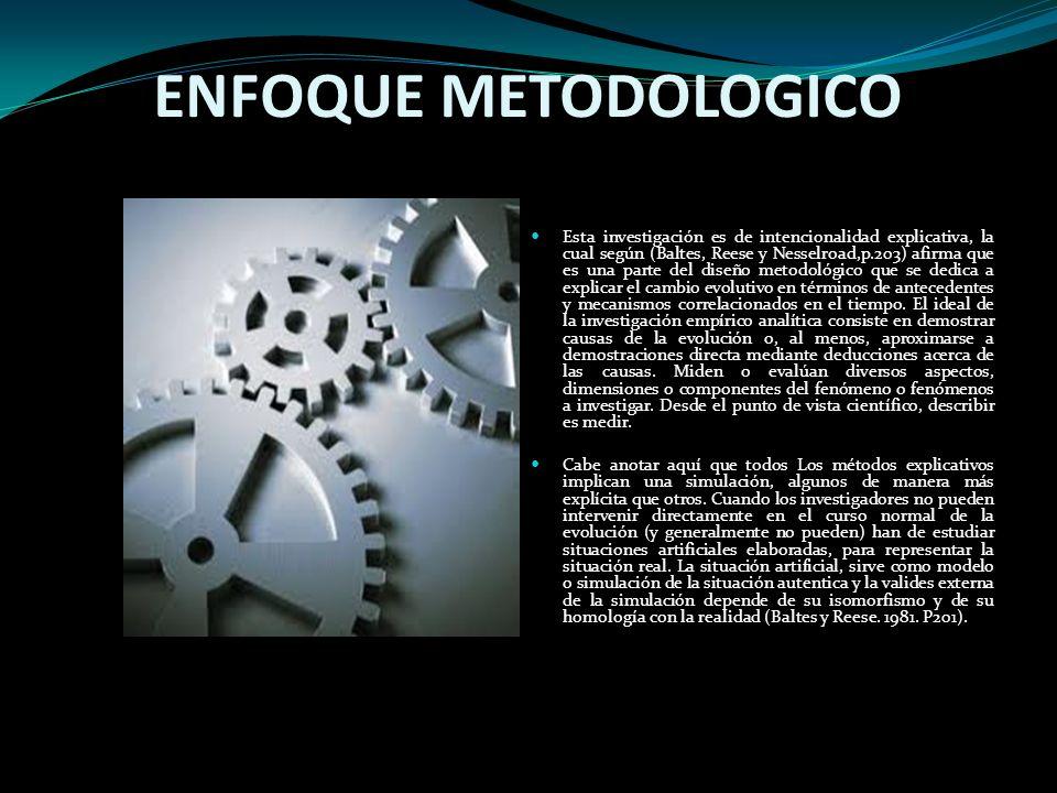 ENFOQUE METODOLOGICO Esta investigación es de intencionalidad explicativa, la cual según (Baltes, Reese y Nesselroad,p.203) afirma que es una parte de