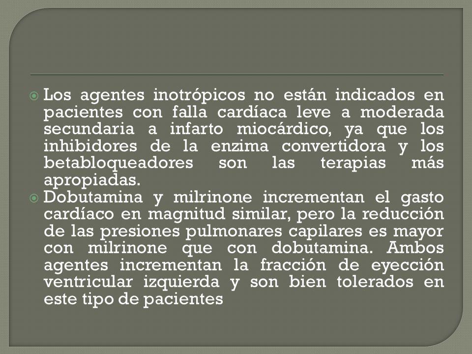 Los agentes inotrópicos no están indicados en pacientes con falla cardíaca leve a moderada secundaria a infarto miocárdico, ya que los inhibidores de