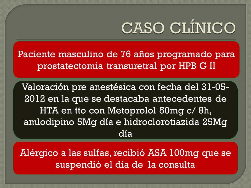 Paciente masculino de 76 años programado para prostatectomia transuretral por HPB G II Valoración pre anestésica con fecha del 31-05- 2012 en la que se destacaba antecedentes de HTA en tto con Metoprolol 50mg c/ 8h, amlodipino 5Mg día e hidroclorotiazida 25Mg día Alérgico a las sulfas, recibió ASA 100mg que se suspendió el día de la consulta