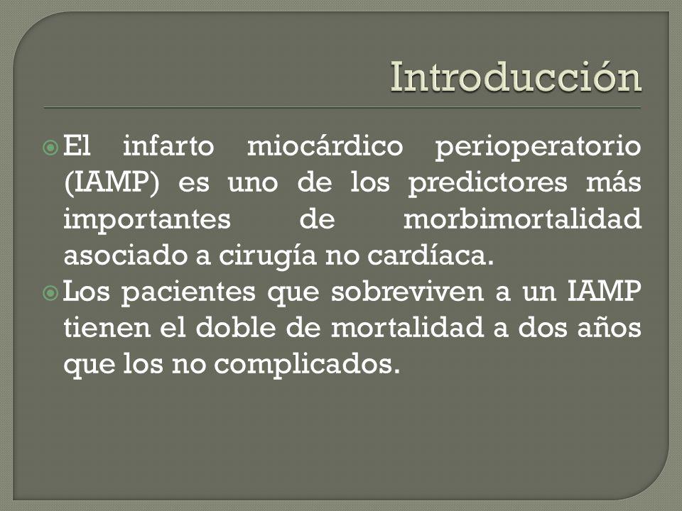 El infarto miocárdico perioperatorio (IAMP) es uno de los predictores más importantes de morbimortalidad asociado a cirugía no cardíaca.