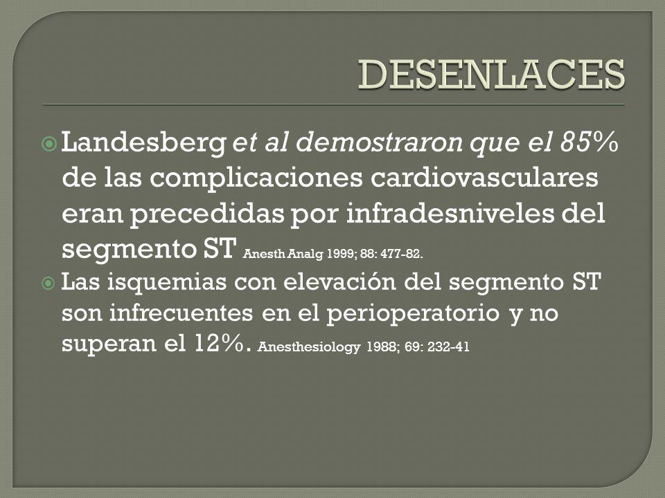 Landesberg et al demostraron que el 85% de las complicaciones cardiovasculares eran precedidas por infradesniveles del segmento ST Anesth Analg 1999; 88: 477-82.