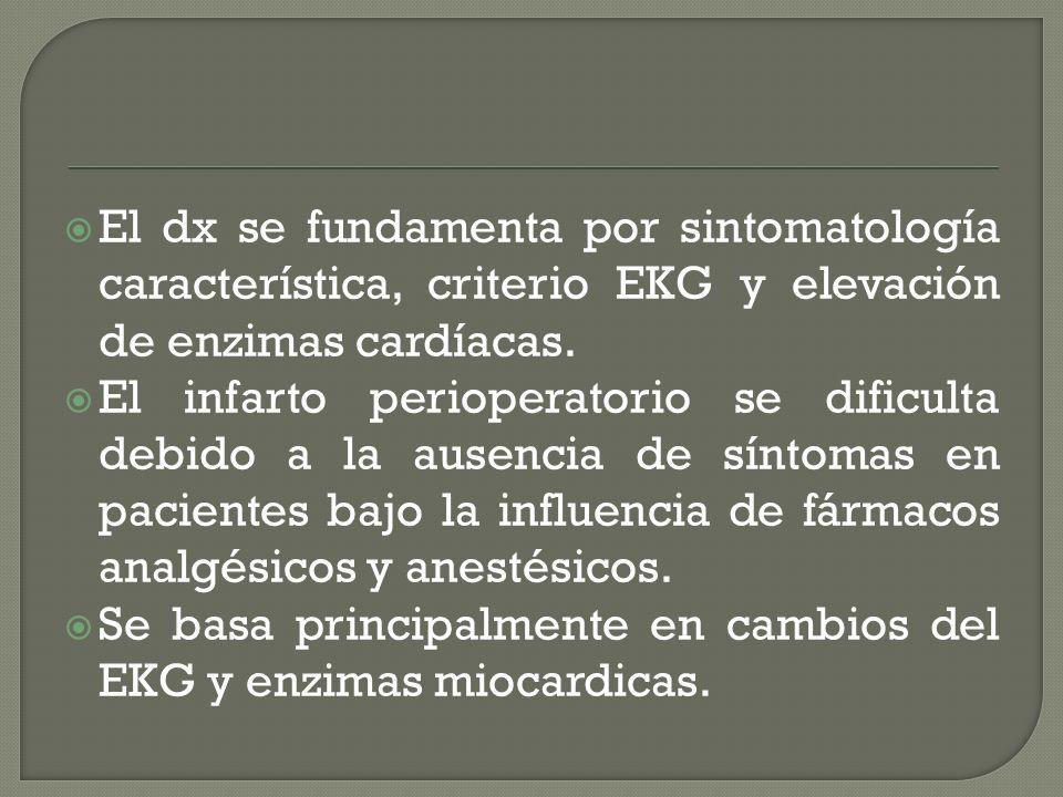 El dx se fundamenta por sintomatología característica, criterio EKG y elevación de enzimas cardíacas.