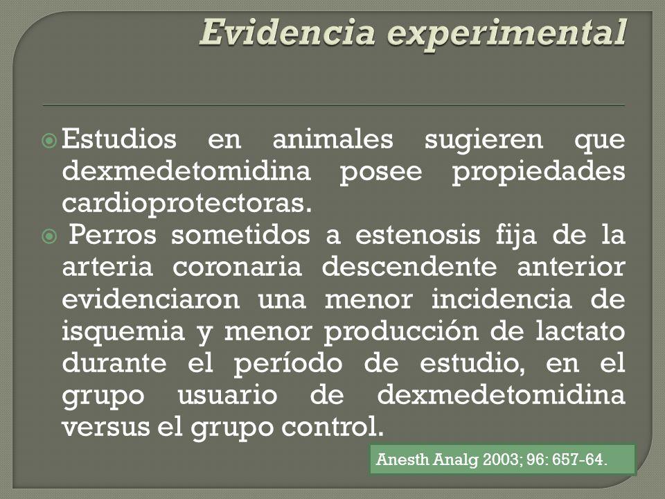 Estudios en animales sugieren que dexmedetomidina posee propiedades cardioprotectoras. Perros sometidos a estenosis fija de la arteria coronaria desce