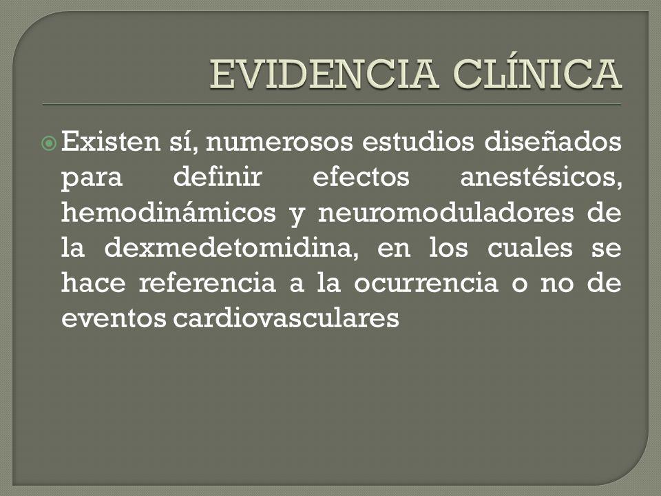 Existen sí, numerosos estudios diseñados para definir efectos anestésicos, hemodinámicos y neuromoduladores de la dexmedetomidina, en los cuales se hace referencia a la ocurrencia o no de eventos cardiovasculares