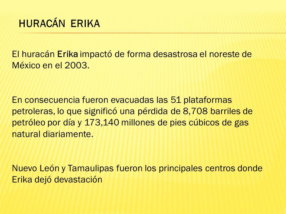 HURACÁN ERIKA El huracán Erika impactó de forma desastrosa el noreste de México en el 2003. En consecuencia fueron evacuadas las 51 plataformas petrol