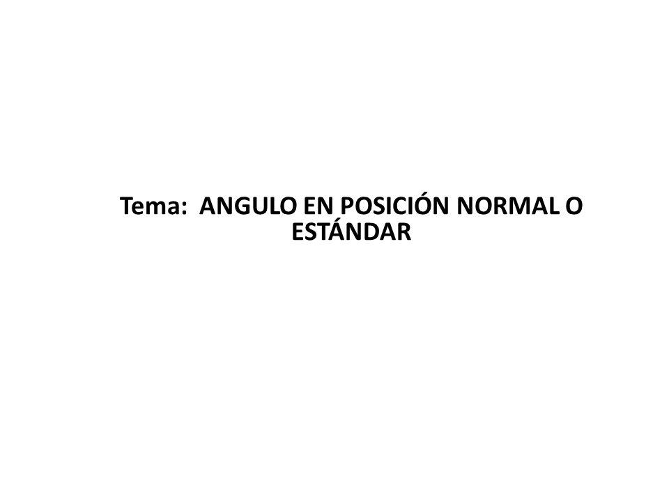 Angulo en posición Normal o Estándar Su lado inicial siempre es el eje x positivo Se trazan en sentido positivo (contrario a las manecillas del reloj)