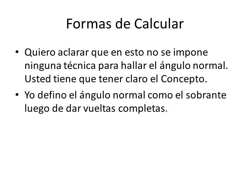 Formas de Calcular Quiero aclarar que en esto no se impone ninguna técnica para hallar el ángulo normal. Usted tiene que tener claro el Concepto. Yo d