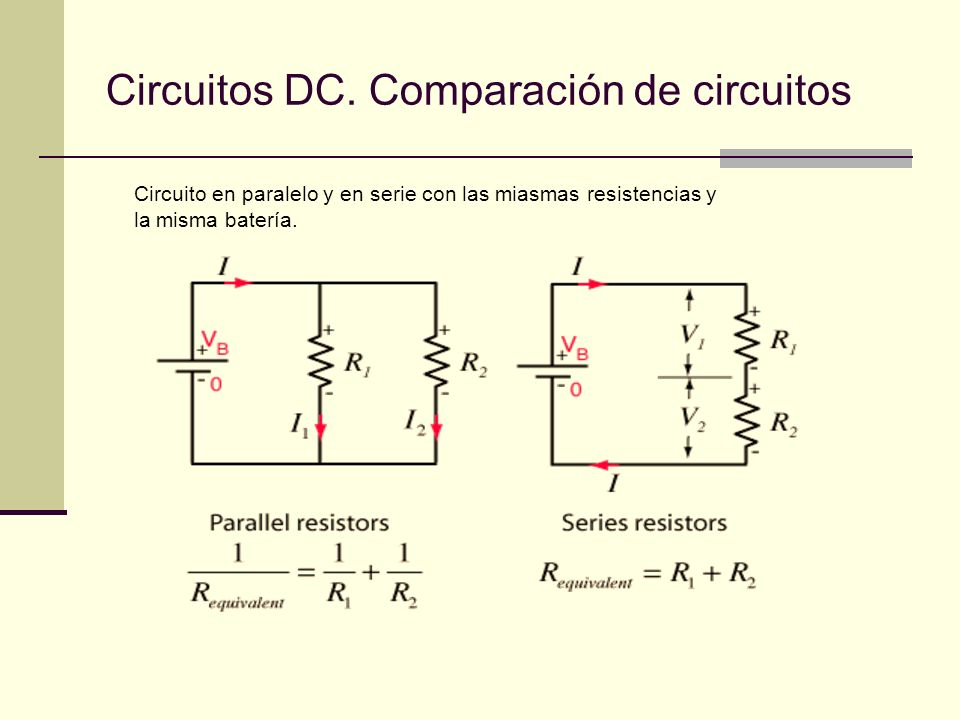 Circuitos DC. Comparación de circuitos Circuito en paralelo y en serie con las miasmas resistencias y la misma batería.