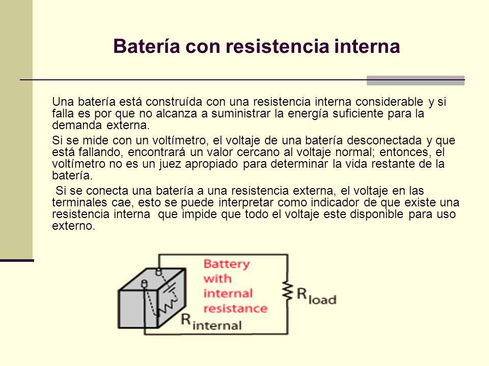 Batería con resistencia interna Una batería está construída con una resistencia interna considerable y si falla es por que no alcanza a suministrar la