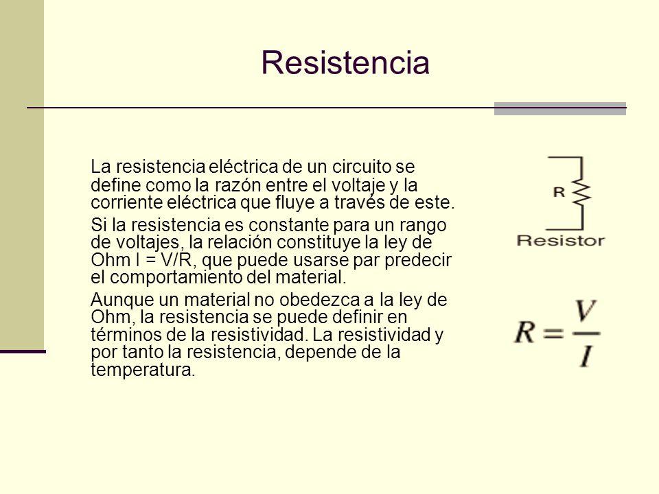 Resistividad y conductividad La resistencia de un conductor eléctrico aumenta con la longitud, disminuye con una mayor sección o área y depende también del material de la que esta hecho.