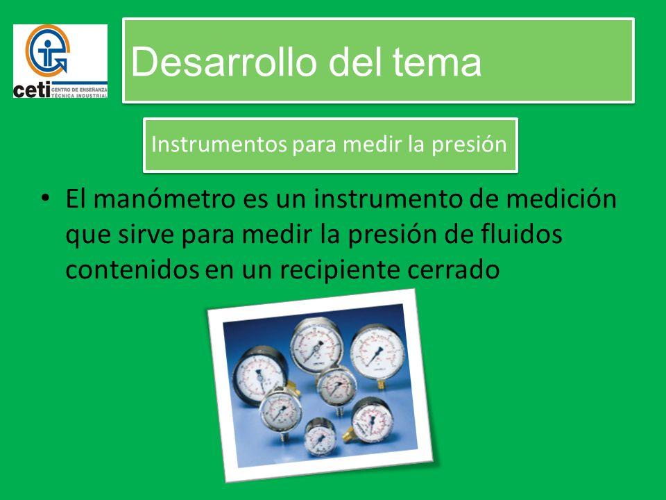 El manómetro es un instrumento de medición que sirve para medir la presión de fluidos contenidos en un recipiente cerrado Desarrollo del tema Instrume