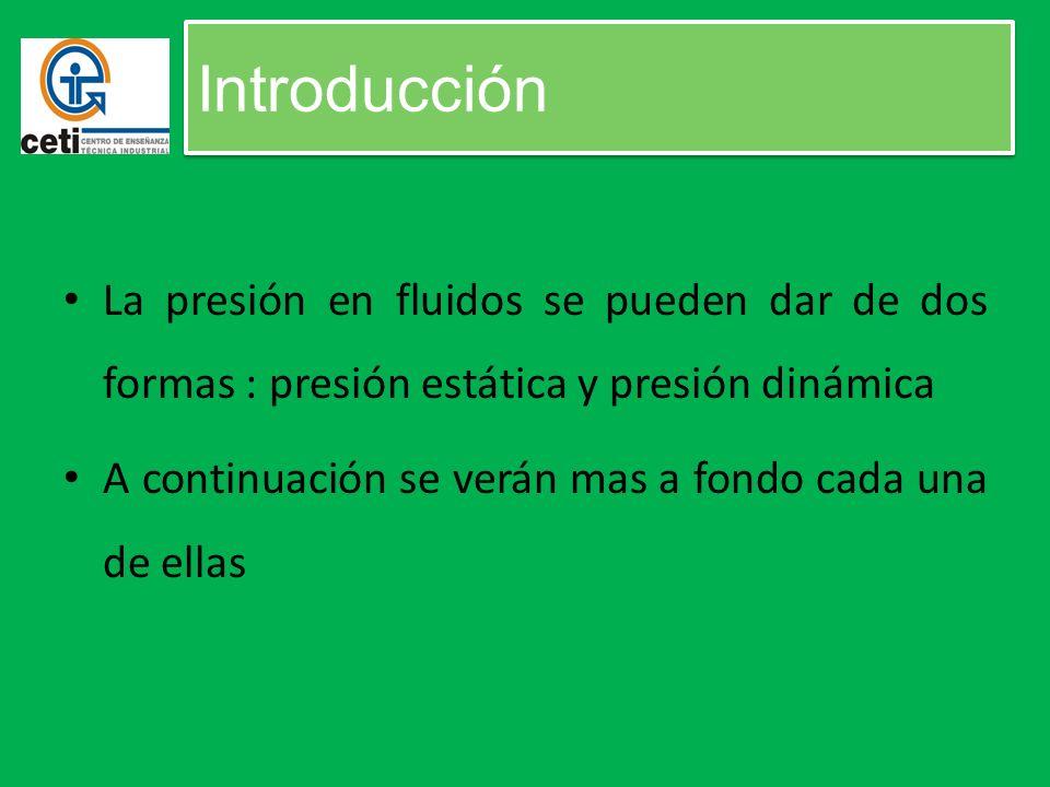 Introducción La presión en fluidos se pueden dar de dos formas : presión estática y presión dinámica A continuación se verán mas a fondo cada una de e