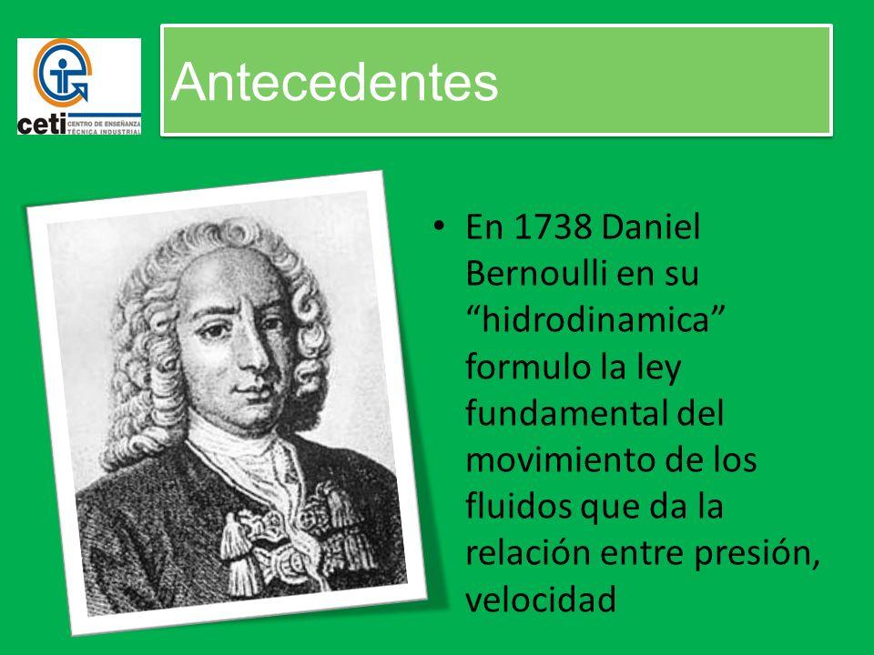 En 1738 Daniel Bernoulli en su hidrodinamica formulo la ley fundamental del movimiento de los fluidos que da la relación entre presión, velocidad Ante