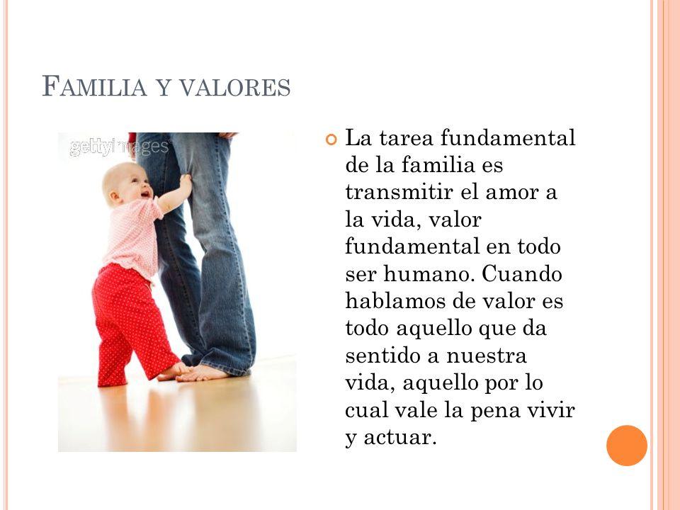 F AMILIA Y VALORES La tarea fundamental de la familia es transmitir el amor a la vida, valor fundamental en todo ser humano. Cuando hablamos de valor