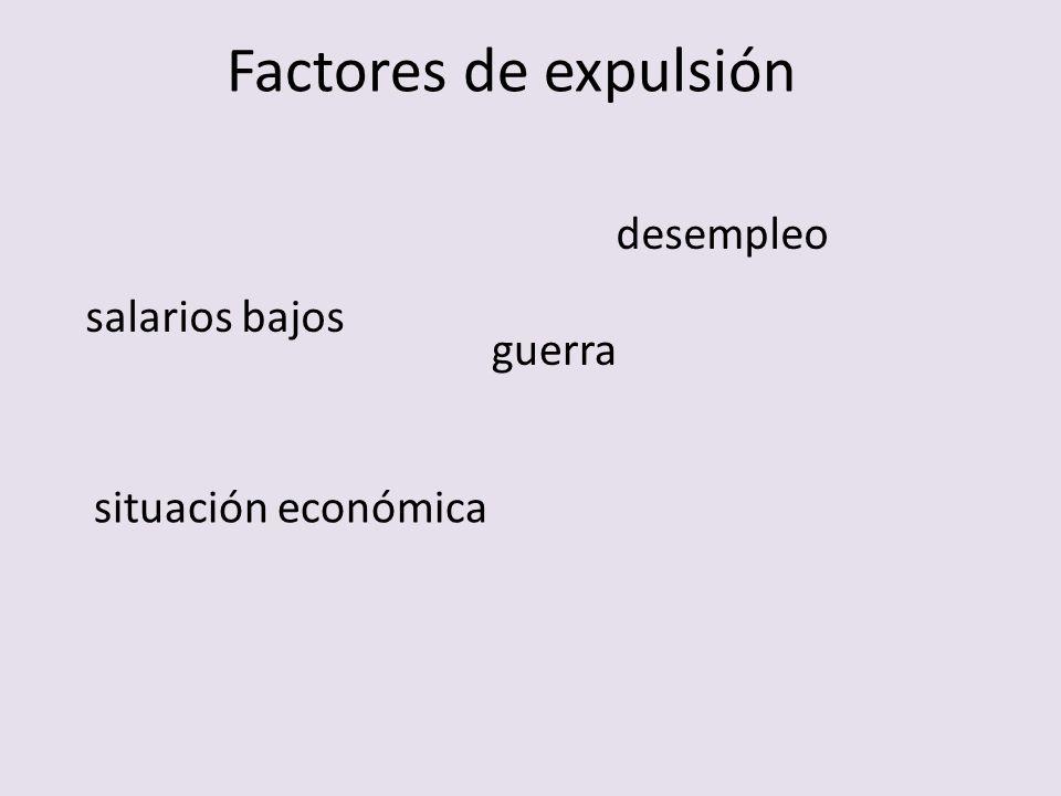 Factores de expulsión salarios bajos desempleo guerra situación económica