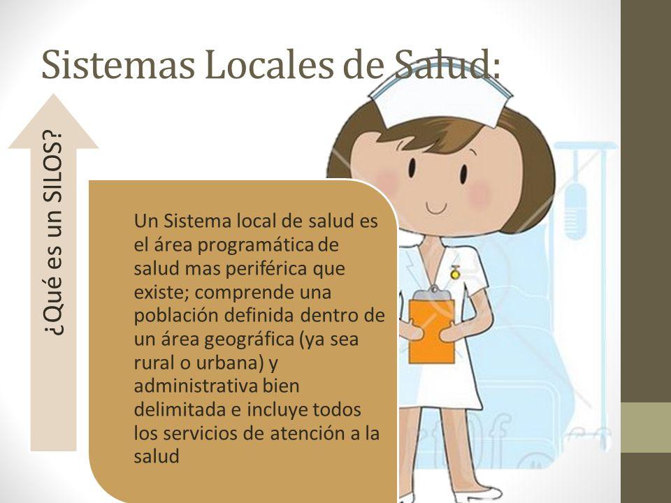 Sistemas Locales de Salud: Un Sistema local de salud es el área programática de salud mas periférica que existe; comprende una población definida dent