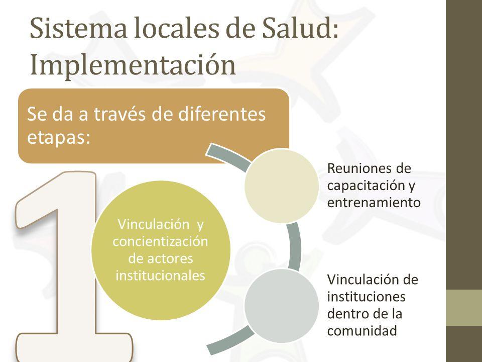 Sistema locales de Salud: Implementación Se da a través de diferentes etapas: Vinculación y concientizació n de actores institucionales Reuniones de capacitación y entrenamiento Vinculación de instituciones dentro de la comunidad
