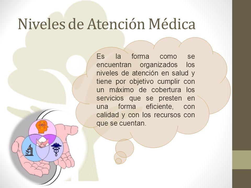 Niveles de Atención Médica Es la forma como se encuentran organizados los niveles de atención en salud y tiene por objetivo cumplir con un máximo de c
