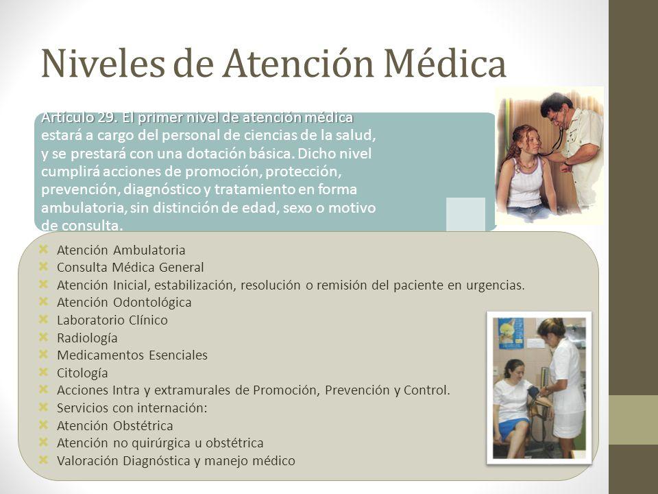 Niveles de Atención Médica Artículo 29. El primer nivel de atención médica Artículo 29. El primer nivel de atención médica estará a cargo del personal