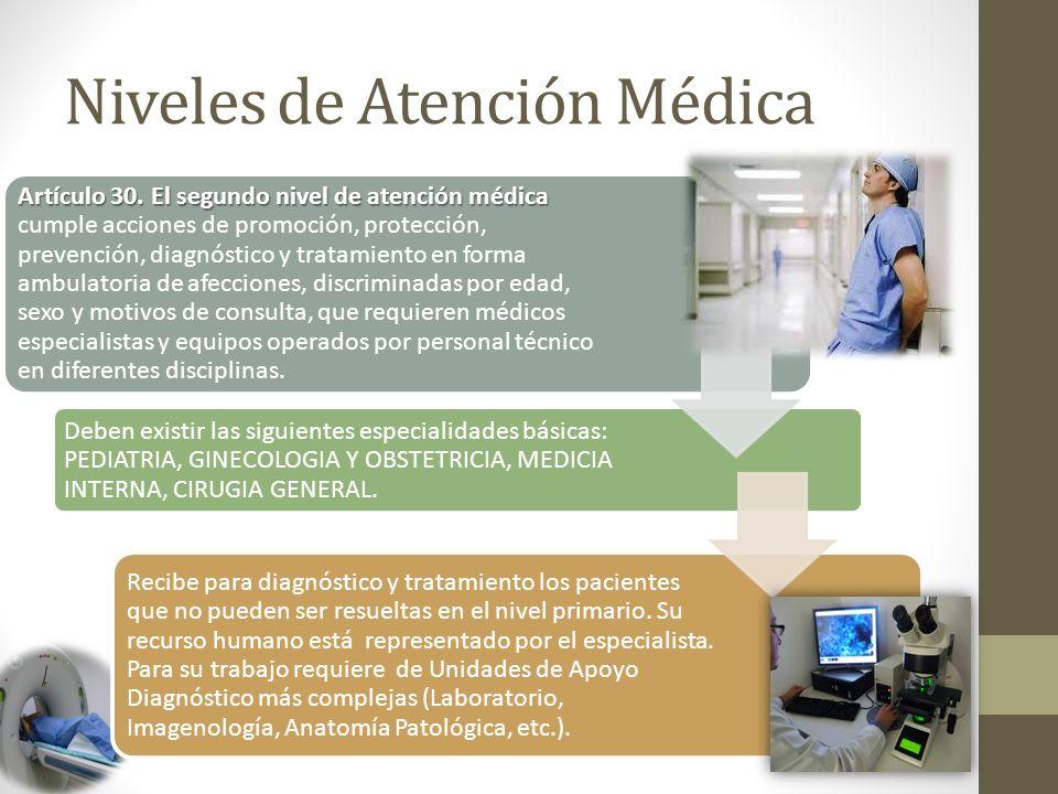 Niveles de Atención Médica Artículo 30.El segundo nivel de atención médica Artículo 30.