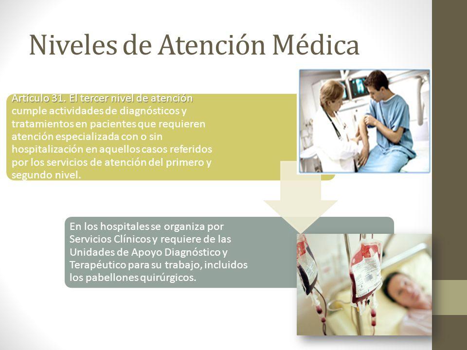 Niveles de Atención Médica Artículo 31. El tercer nivel de atención Artículo 31. El tercer nivel de atención cumple actividades de diagnósticos y trat