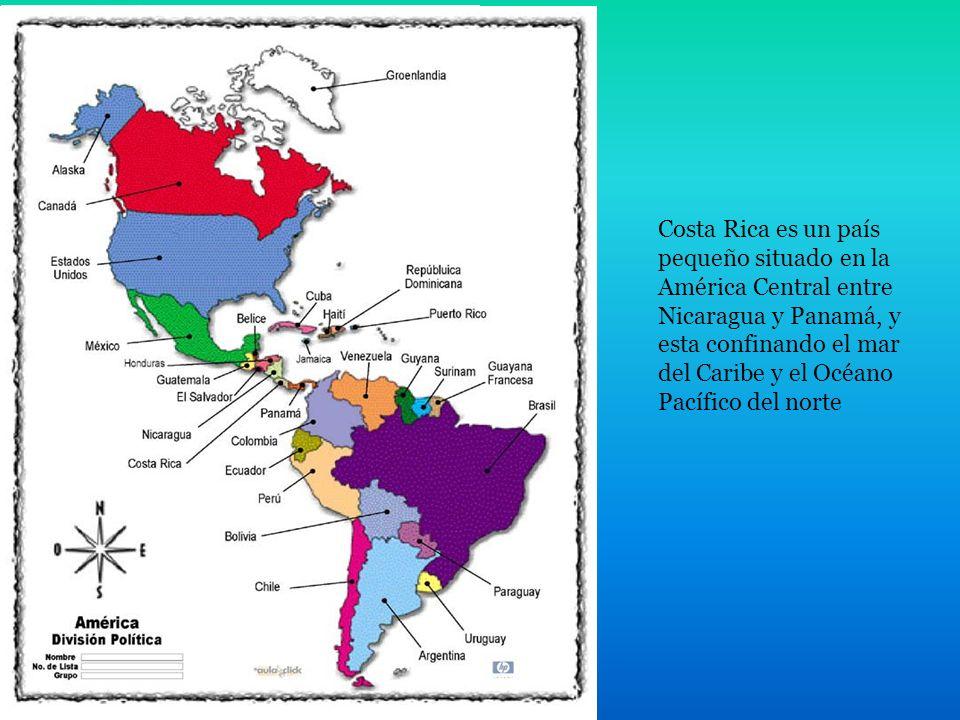 Costa Rica es un país pequeño situado en la América Central entre Nicaragua y Panamá, y esta confinando el mar del Caribe y el Océano Pacífico del norte Población: 4,5 millones de habitantes Una esperanza de vida: casi 77 años Capital: San José Tipo de gobierno: una república democrática Moneda: colon