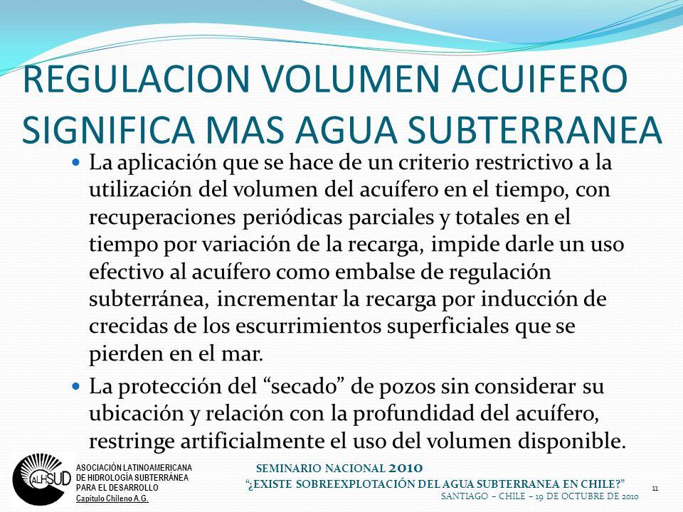 11 ASOCIACIÓN LATINOAMERICANA DE HIDROLOGÍA SUBTERRÁNEA PARA EL DESARROLLO Capítulo Chileno A.G. SEMINARIO NACIONAL 2010 ¿EXISTE SOBREEXPLOTACIÓN DEL