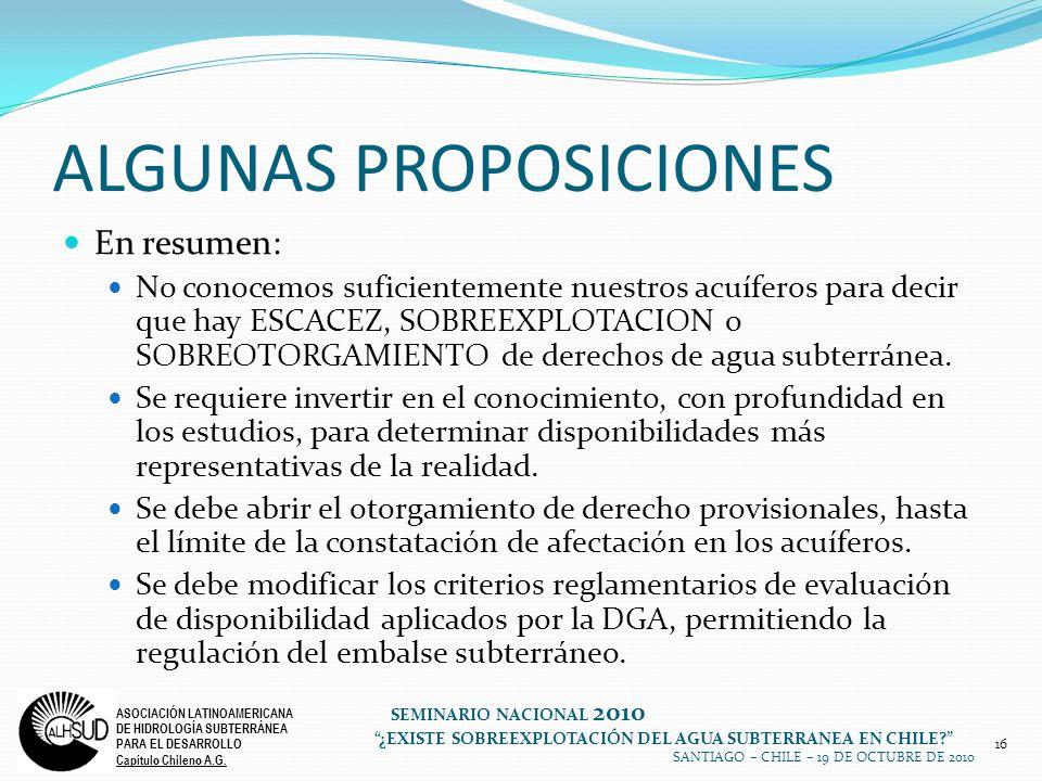 16 ASOCIACIÓN LATINOAMERICANA DE HIDROLOGÍA SUBTERRÁNEA PARA EL DESARROLLO Capítulo Chileno A.G.