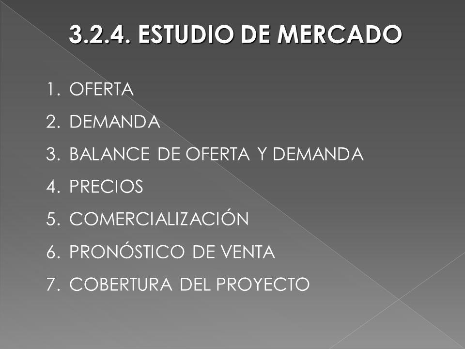 3.2.4. ESTUDIO DE MERCADO 1.OFERTA 2.DEMANDA 3.BALANCE DE OFERTA Y DEMANDA 4.PRECIOS 5.COMERCIALIZACIÓN 6.PRONÓSTICO DE VENTA 7.COBERTURA DEL PROYECTO
