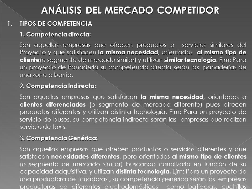 ANÁLISIS DEL MERCADO COMPETIDOR 1.TIPOS DE COMPETENCIA 1. Competencia directa: Son aquellas empresas que ofrecen productos o servicios similares del P