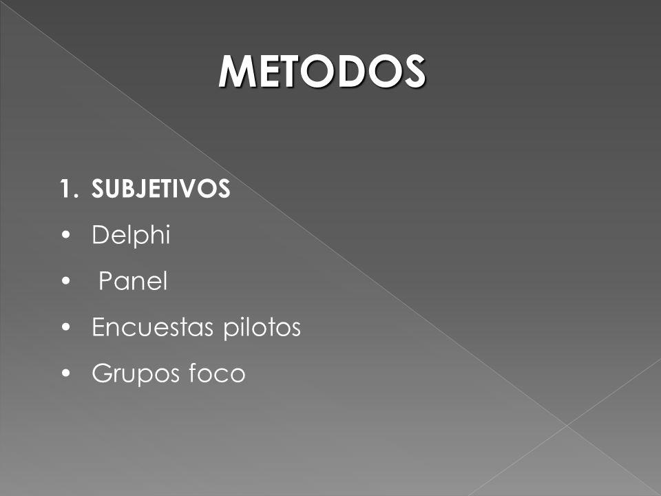 METODOS 1.SUBJETIVOS Delphi Panel Encuestas pilotos Grupos foco