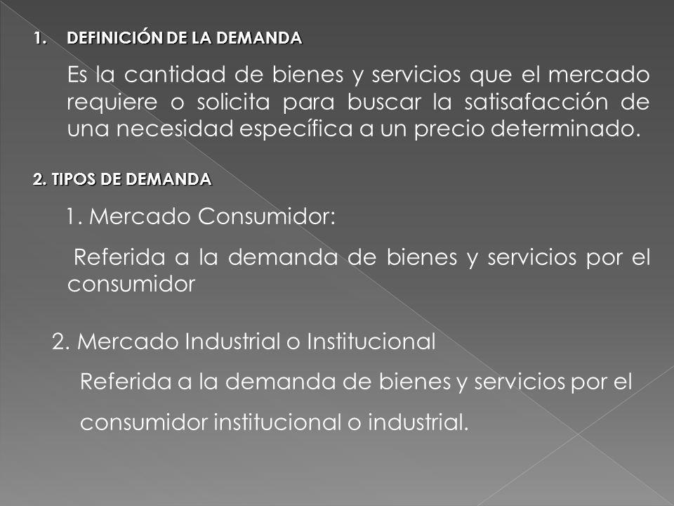 1.DEFINICIÓN DE LA DEMANDA Es la cantidad de bienes y servicios que el mercado requiere o solicita para buscar la satisafacción de una necesidad espec