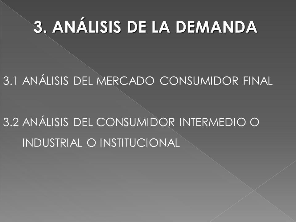3. ANÁLISIS DE LA DEMANDA 3.1 ANÁLISIS DEL MERCADO CONSUMIDOR FINAL 3.2 ANÁLISIS DEL CONSUMIDOR INTERMEDIO O INDUSTRIAL O INSTITUCIONAL