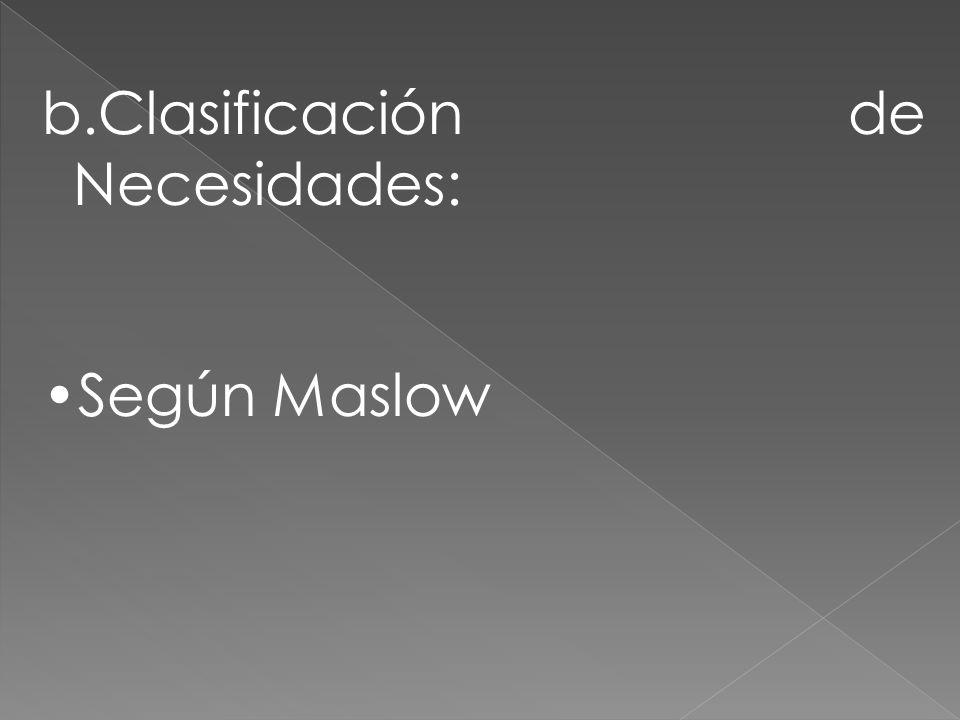 b.Clasificación de Necesidades: Según Maslow