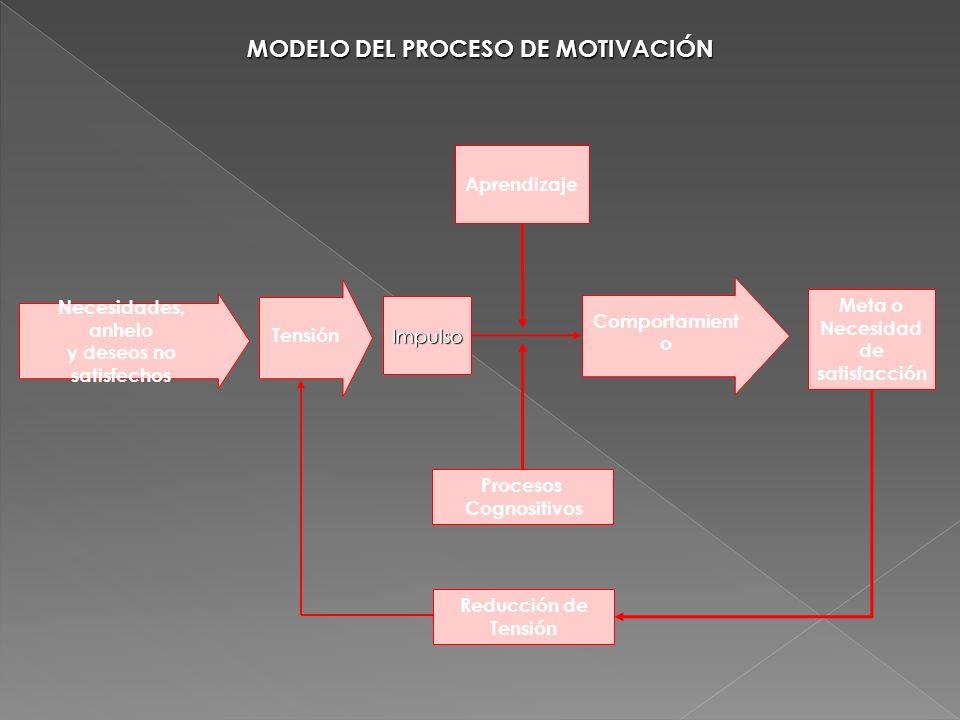 MODELO DEL PROCESO DE MOTIVACIÓN Procesos Cognositivos Necesidades, anhelo y deseos no satisfechos Tensión Aprendizaje Meta o Necesidad de satisfacció