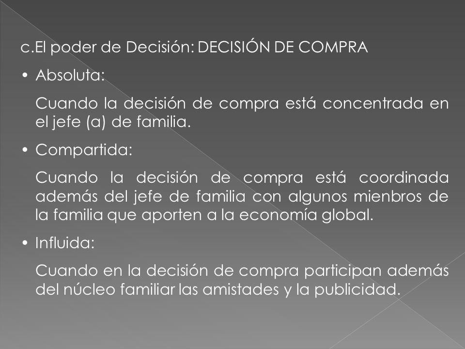 c.El poder de Decisión: DECISIÓN DE COMPRA Absoluta: Cuando la decisión de compra está concentrada en el jefe (a) de familia. Compartida: Cuando la de