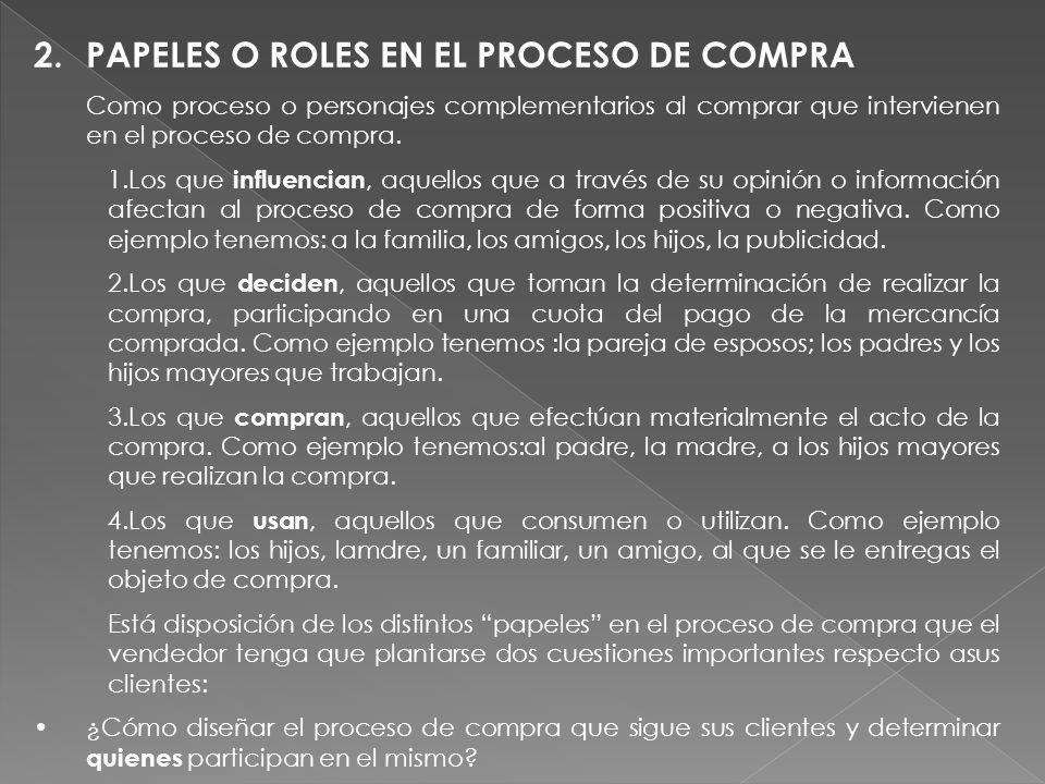 2.PAPELES O ROLES EN EL PROCESO DE COMPRA Como proceso o personajes complementarios al comprar que intervienen en el proceso de compra. 1.Los que infl